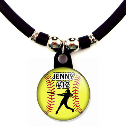Personalized softball batter necklace with your name and number