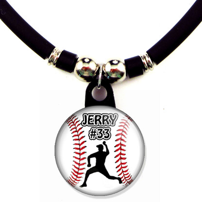 Personalized baseball lefty pitcher necklace with your name and number