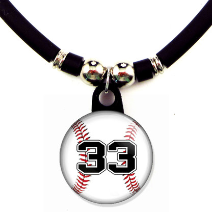 Personalized baseball necklace with your jersey number