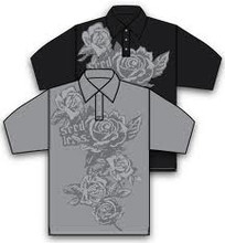 SEEDLESS ROSES POLO SHIRT BLACK SIZE XXL