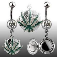 Pot Leaf Locket Belly Ring