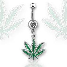 Pot Leaf Belly Ring #1