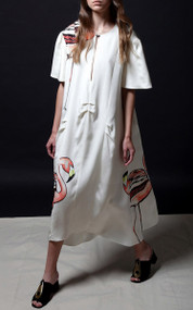 Nan Dress - Flamingo / Ivory