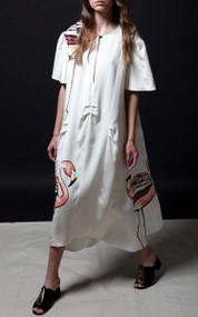 Nan Dress - Flamingo / Ivory