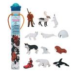 Safari Toob 681604 - Arctic Eskimo Playset (12) Painted Plastic Figures Igloo Dogsled