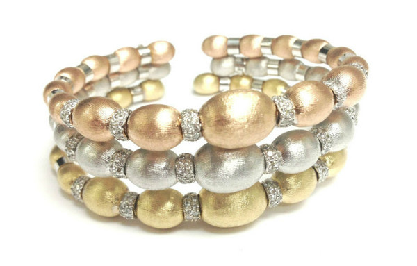 Monique - Cuffs in White, Rose & Yellow Gold with Diamonds