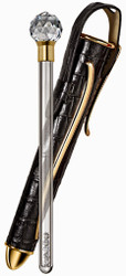 Philip Stein - Travel Wine Wand, Black Alligator with Gold Finish