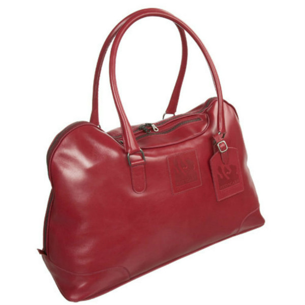 Red Scarf - Elite City Tote with embossed hang tag in chocolate brown  leather
