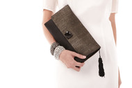 IV LUXURY - Artisan Luxury Black & Gold Silk Clutch with tassle