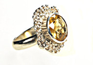 DAFNA PODLUBNY - Artisan Crafted 925 Sterling Silver Ring w large round Yellow Citrine