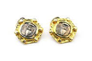 MICHELLE DELVILLE - MENS CUFFLINKS #023 Aquarius 22K Gold Plated Solar Sign Hand Finished One of  Kind