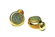 MICHELLE DELVILLE - MENS CUFFLINKS #012 Green Pyrite Druzy 22K Gold Plated Hand made one of a kind