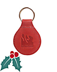 Red Scarf - Embossed Leather Key Chain Front with RS Logo - Red
