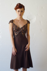 JAMAL TASLAQ - Brown Cocktail in Chiffon with fine Leather embellishment