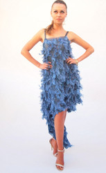 Alex Vinash - Blue Feather & Sequinns Cocktail Dress