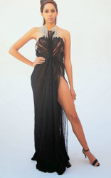 Alex Vinash - Black Chiffon Gown with Silver Crystal and side slit