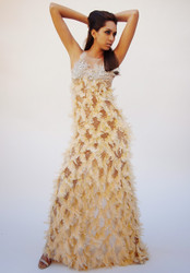 Alex Vinash - Yellow Cream Feather Gown with Sequinns & Cystal