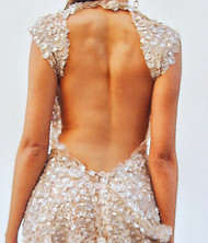 Alex Vinash - Cappuccino Sheer Gown with Mother of Pearl Sea Shells