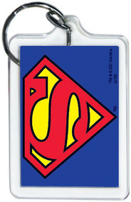 """DC Comics Superman Logo 3"""" x 2"""" Officially Licensed Lucite Double Sided Keychain"""