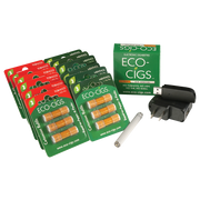 Eco-Cigs Starter Pack Platinum  Eco-Cigs Tip Recharging Battery Eco-Cigs Tip Recharging USB Charger Eco-Cigs Wall Adapter 36 Cartridges - Thats a whole lot of lot of cartridges and each single one contains enough puffs equal to up to 2 packs of traditional cigarettes!