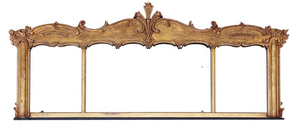 Antique wall overmantle mirror