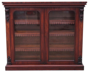Antique Victorian mahogany glazed bookcase display cabinet cupboard