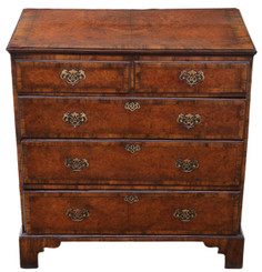 Antique Georgian 18C and later crossbanded burr walnut chest of drawers