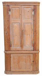Antique large Victorian rustic pine kitchen corner cupboard