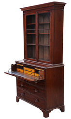 Antique quality Georgian Regency mahogany secretaire bookcase desk writing
