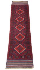 Antique meshwani hand woven wool rug runner red blue ~9' x 2'