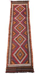 Antique Persian Kilim hand woven wool rug runner ~9' x 2'