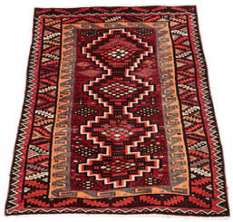 """Antique quality Persian hand woven wool rug cream red terracotta ~6'x4'6"""""""