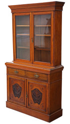 Antique large Victorian walnut glazed bookcase display cabinet cupboard