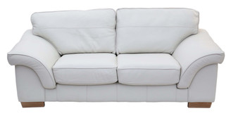 Quality Italian cream leather 2 seater sofa settee couch