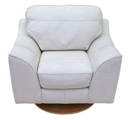 Quality contemporary Italian cream leather swivel armchair