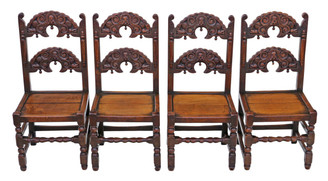 Antique set of 4 19C Gothic heavy carved oak dining chairs