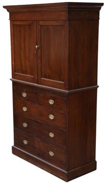 Antique Victorian C1900 oak housekeeper's kitchen larder cupboard on chest