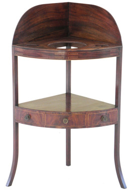 Antique Georgian inlaid mahogany corner washstand table