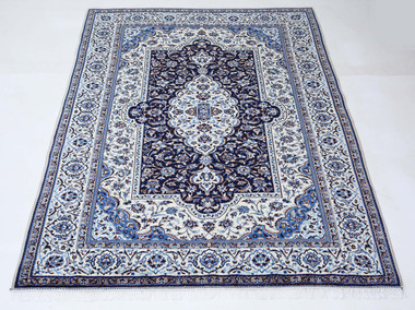 Antique large quality Persian hand woven Nain Naeen wool rug cream ~10'x7'