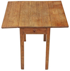Antique drop leaf scrub top pine kitchen dining table with drawers
