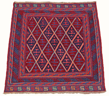 Antique Meshwani hand woven wool rug red blue ~4' x 4'