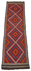 "Antique Persian Kilim hand woven wool rug runner carpet ~9'6"" x 2'3"""