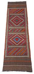 "Antique Persian Kilim hand woven rug runner carpet wool ~9' x 2'3"""