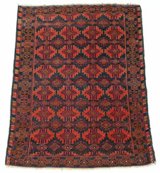 """Antique quality Persian hand woven wool rug black terracotta ~4'4""""x 3'"""