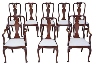 Antique quality set of 8 (6 + 2) mahogany Queen Anne dining chairs