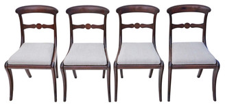 Antique rare set of 4 mahogany Georgian Regency dining chairs