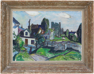 Antique oil on canvas painting Erik Jerken (1898-1947) Visby Sweden