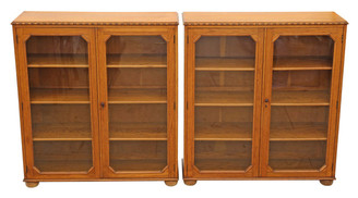 Antique quality pair of large glazed oak bookcases display cabinets C1920