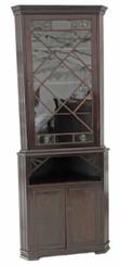 Antique 19C mahogany glazed corner bookcase cupboard