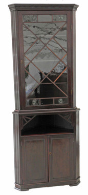 Antique 19C mahogany glazed corner bookcase cupboard
